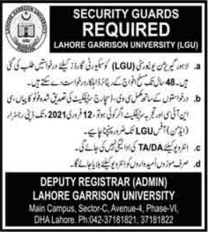 Security Guards Jobs in Lahore 2021