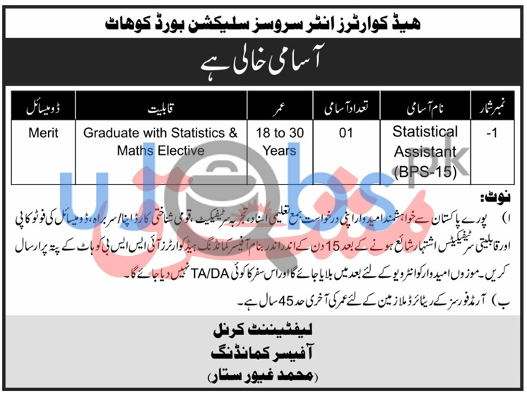 HQ Inter Services & Selection Board Kohat Jobs 2021 For Assistant