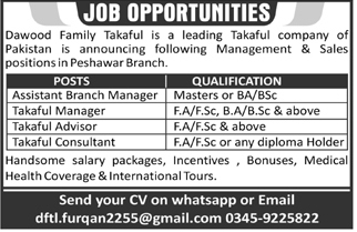 Takaful Manager & Assistant Branch Managers Peshawar Jobs 2021