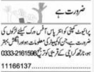 Private Company Jobs in Karachi 2021 For Office Work