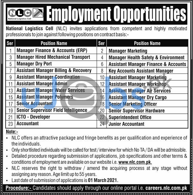 National Logistic Cell (NLC) Jobs 2021 in Lahore