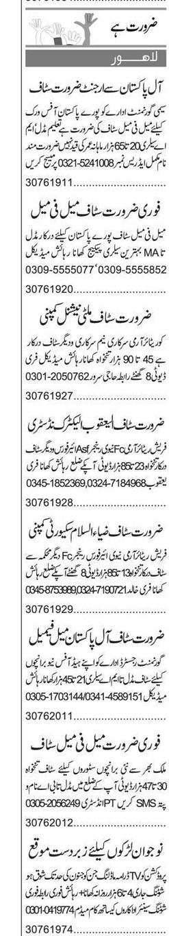 Lahore Daily Express Classified Jobs 2021 For Staff