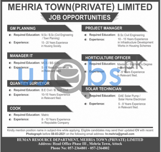 GM Planning, Project Manager, Manager IT, Horticulture Officer, Quantity Surveyor, Solar Technician, Cook.