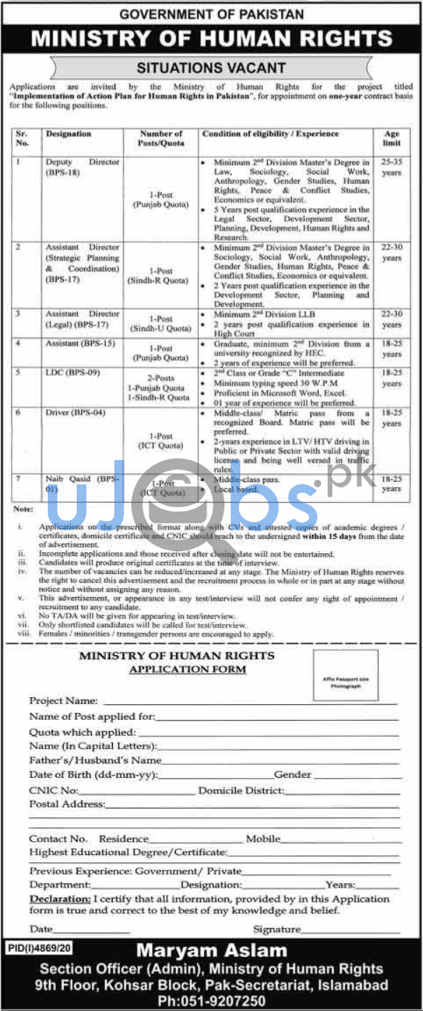Jobs in Ministry of Human Rights Islamabad For Management Staff