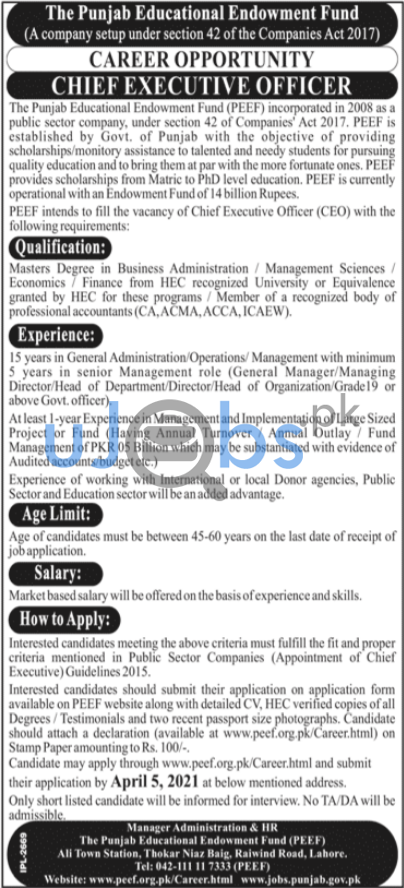 Latest Chief Executive Officer CEO Jobs in Lahore 2021