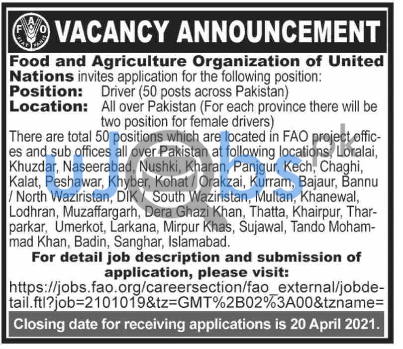 Food and Agriculture Organization of United Nations Jobs 2021 For Driver