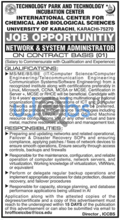 Network and System Administrator Job in Karachi April 2021