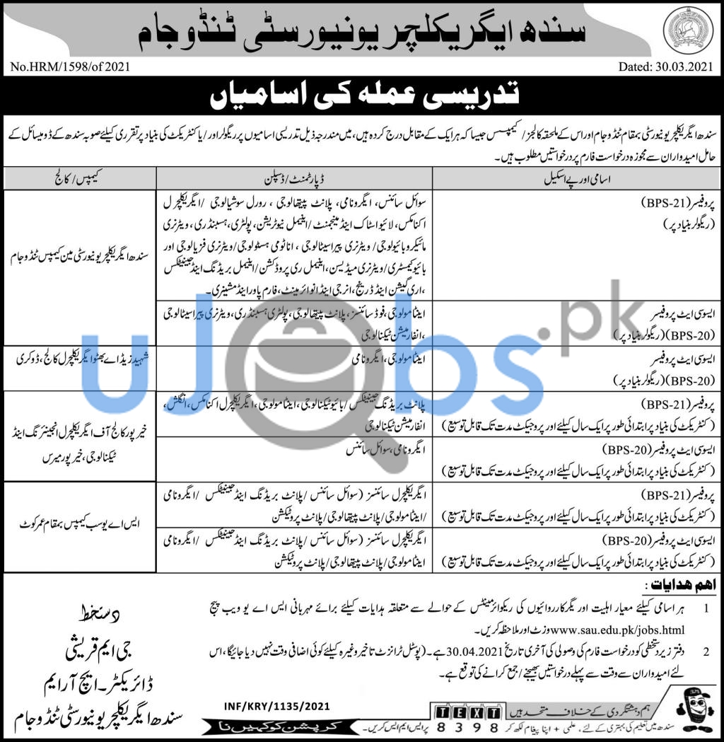 Latest Sindh Agriculture University Tandojam Jobs 2021