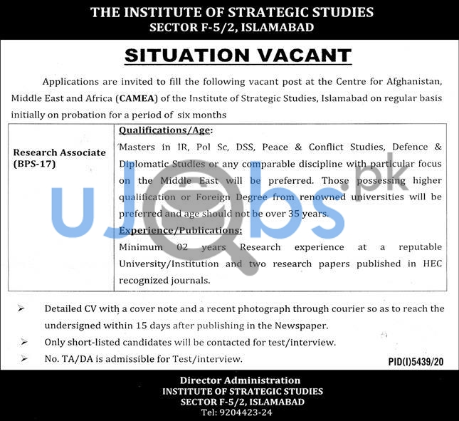Institution of Strategic Studies Islamabad Job 2021 For Research Associate
