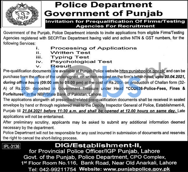 Police Department Lahore Jobs 2021 For Prequalification of firm Testing Agencies