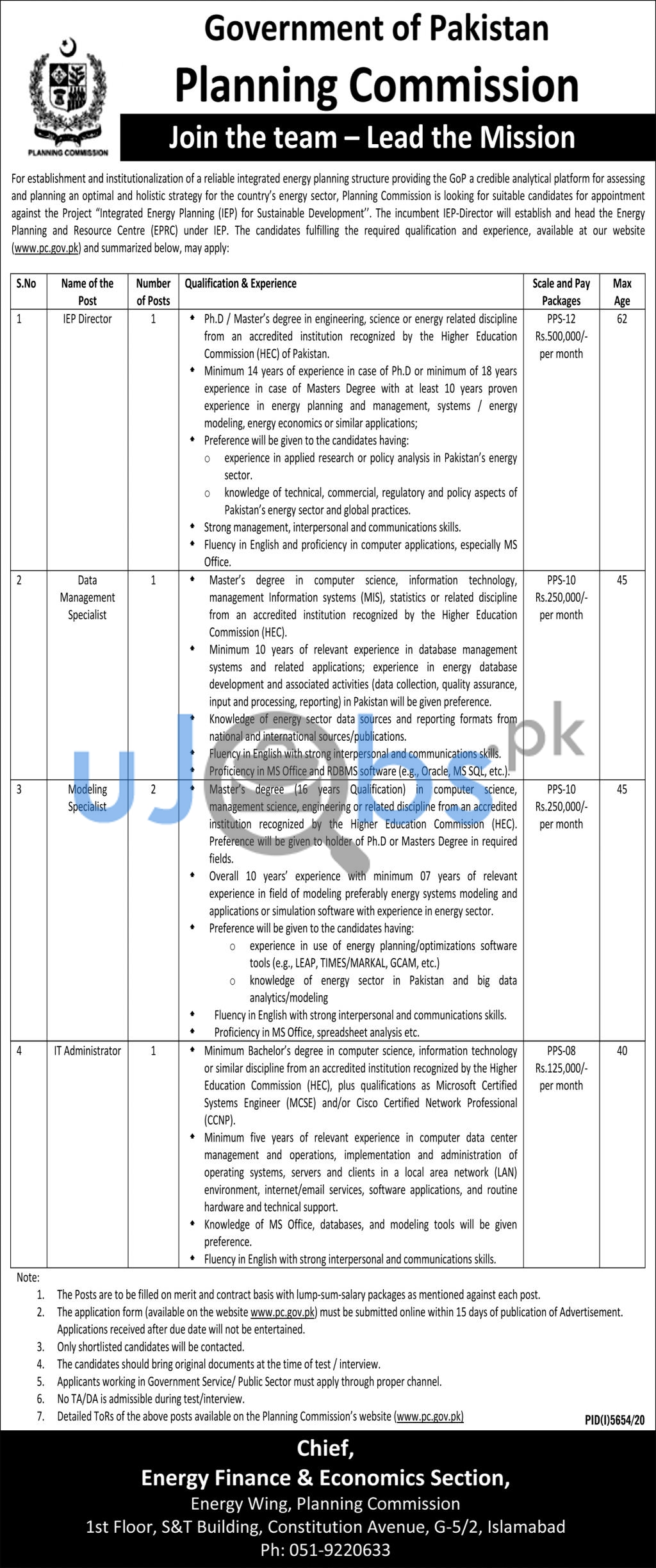 Government of Pakistan Planning Commission Islamabad Jobs 2021