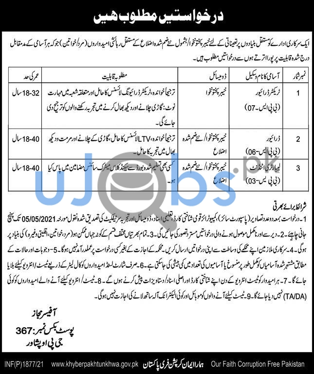 Government of Khyber Pakhtunkhwa Jobs 2021