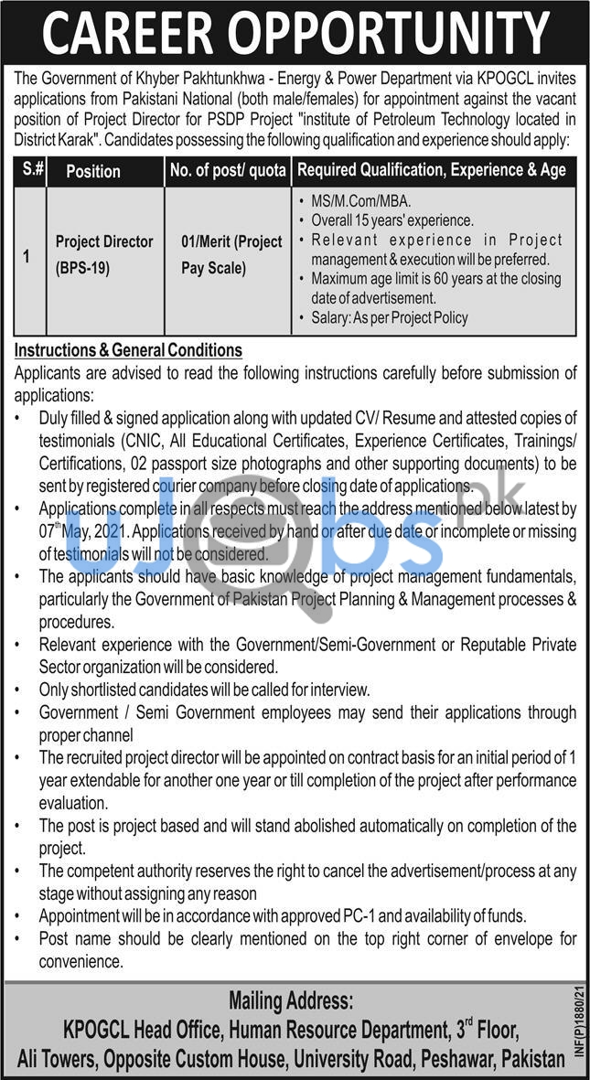 The Government of Khyber Pakhtunkhwa Energy and Power Department KPOGCL Jobs 2021