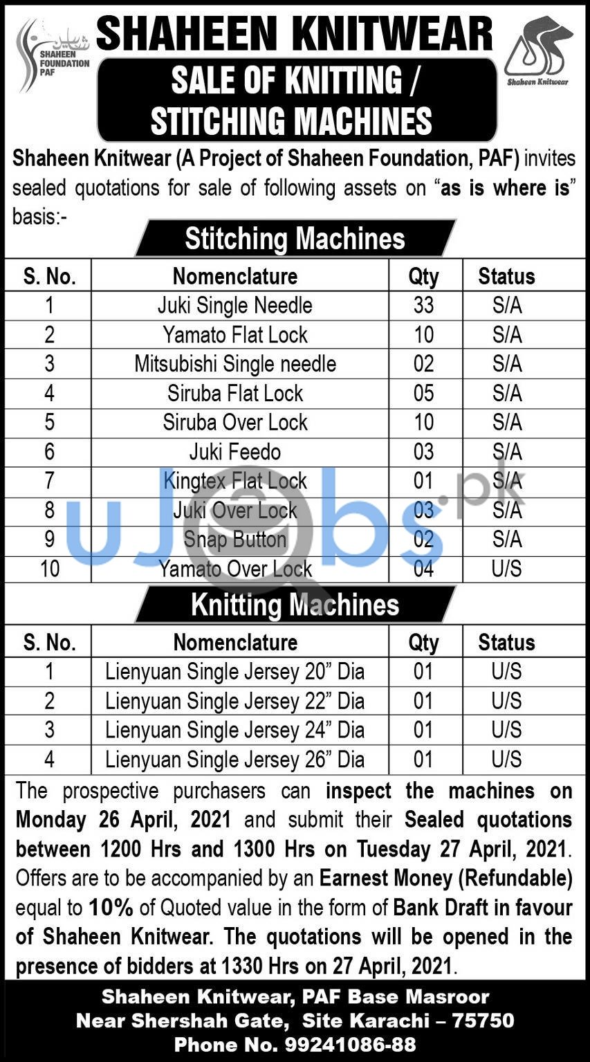 Project of Shaheen Knitwear Foundation PAF Karachi Jobs 2021 For Sealed Quotation