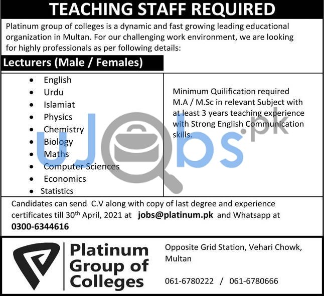Platinum Group of Colleges Jobs 2021 For Teaching Staff