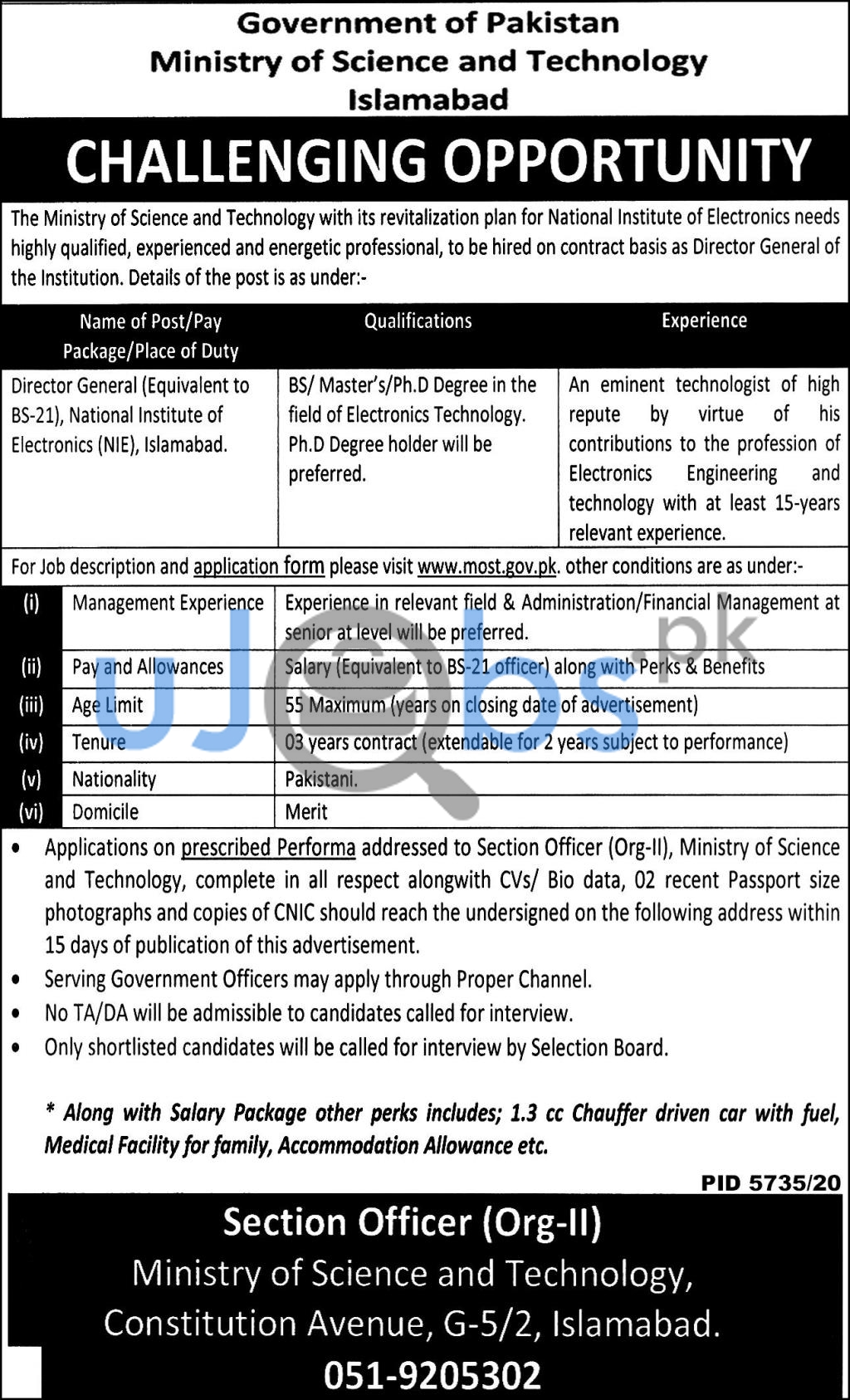 Ministry of Science and Technology Islamabad Jobs April 2021 For Director General