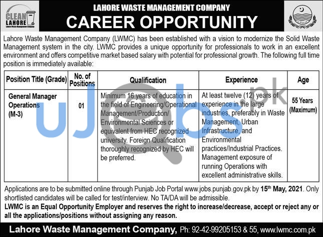 Lahore Waste Management Company LWMC Jobs 2021 For General Manager Operations