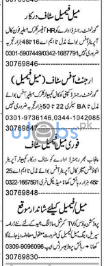 Male and Female Staff Jobs in Pakistan 2021