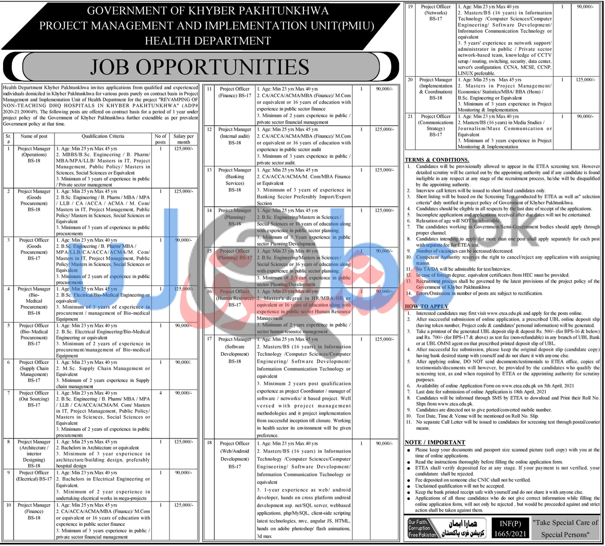 Project Management And Implementation Unit PMIU Jobs in Peshawar 2021