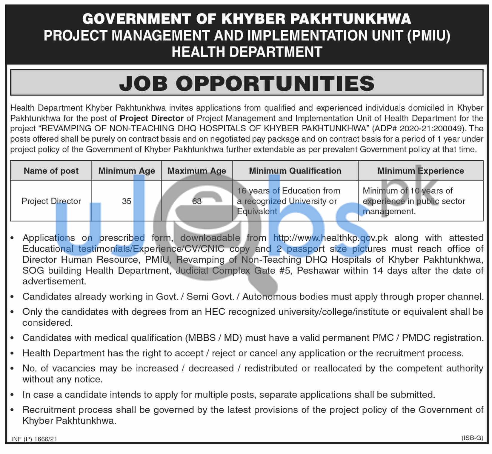 PMIU Jobs in Peshawar 2021 For Project Manager