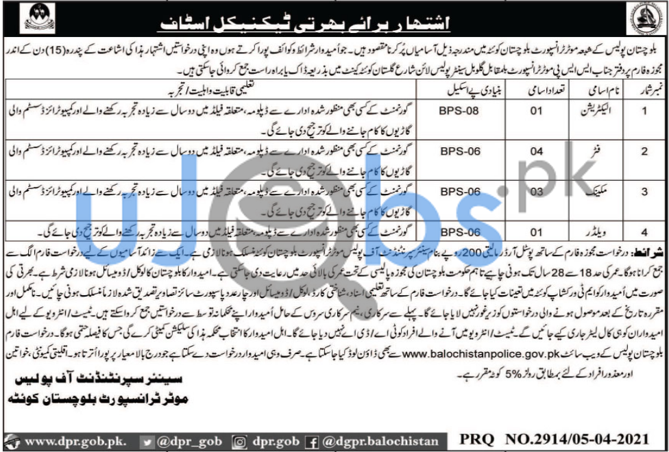 Latest Balochistan Police Jobs in Motor Transport Department 2021