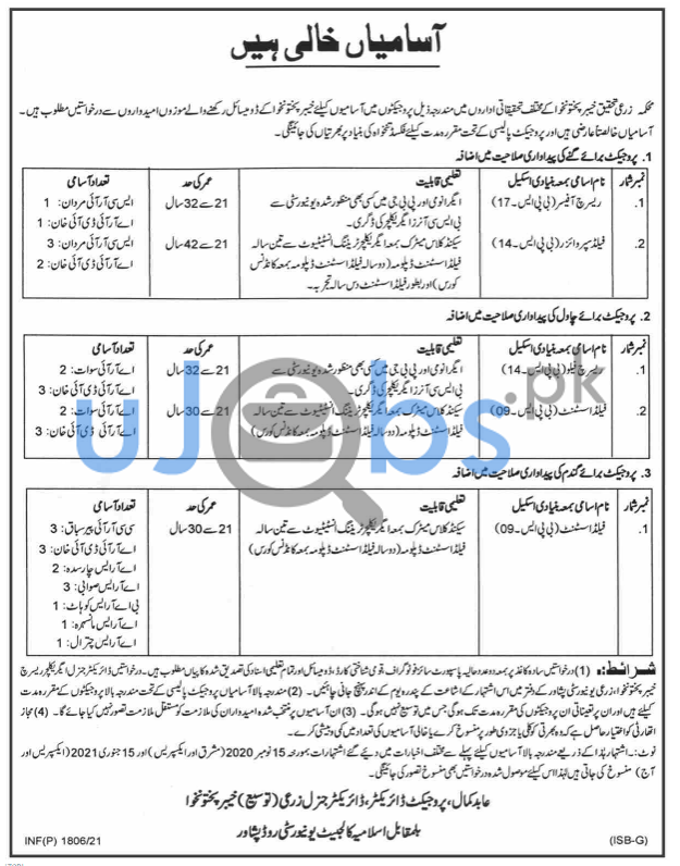 Agriculture Department Khyber Pakhtunkhwa Jobs 2021