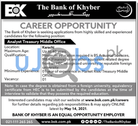 Analyst Treasury Middle Office Job in Bank of Khyber BOK 2021