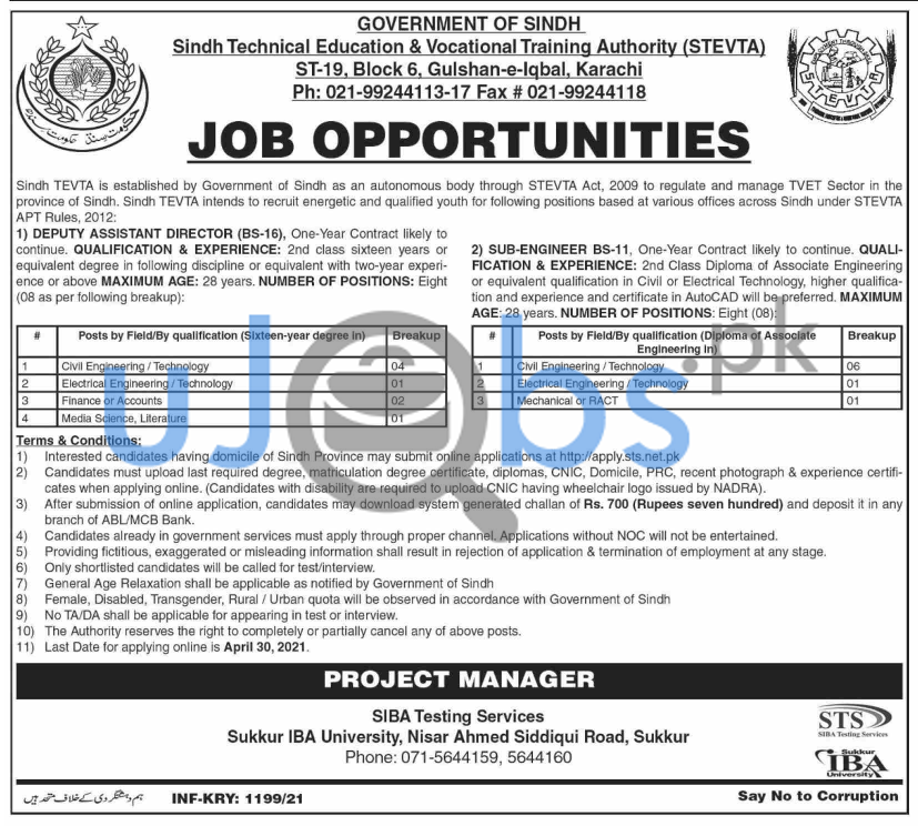 Sindh Technical Education and Vocational Training Authority STEVTA Jobs 2021