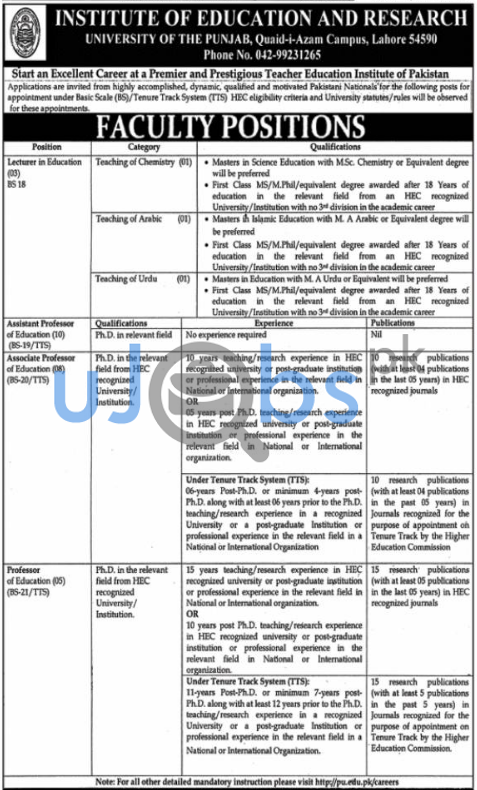 Institute of Education and Research University of Punjab Quid e Azam Campus Lahore Jobs 2021