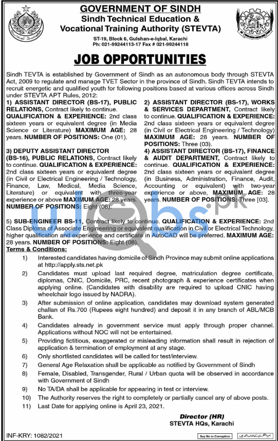 Latest Posts in Sindh Technical Education Vocational Training Authority STEVTA Jobs 2021