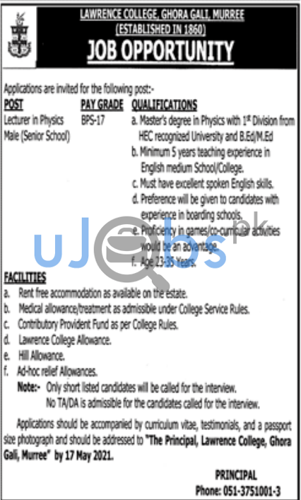 Lawrence College Jobs in Murree 2021 For Lecturer