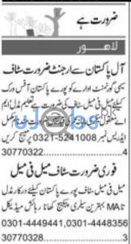 Male and Female Staff Job in Lahore 2021