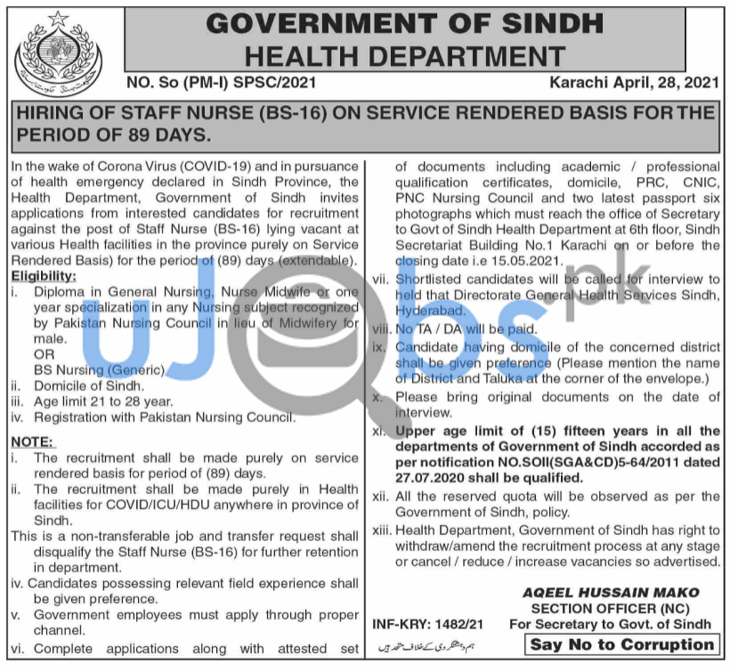 Nurse Staff Job in Government of Sindh Health Department 2021