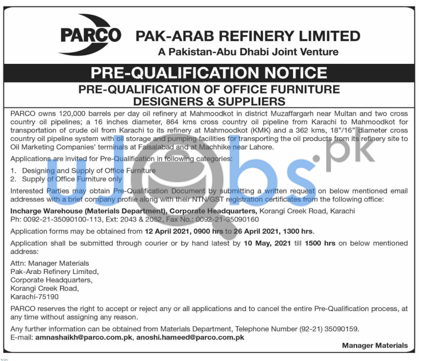 Paki Arab Refinery Limited PARCO Karachi Jobs 2021