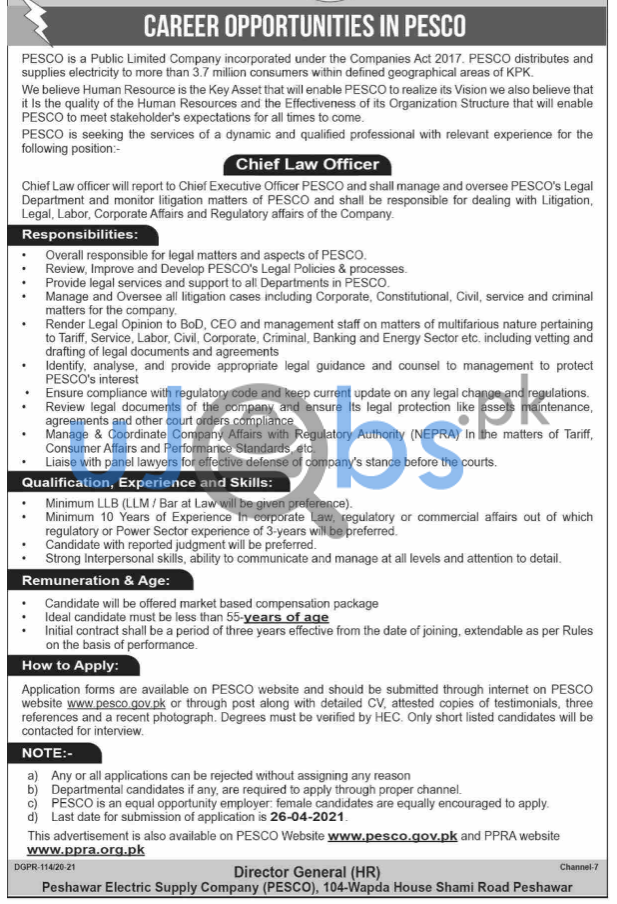 Peshawar Electric Supply Company PESCO Jobs 2021 For Chief Law Officer