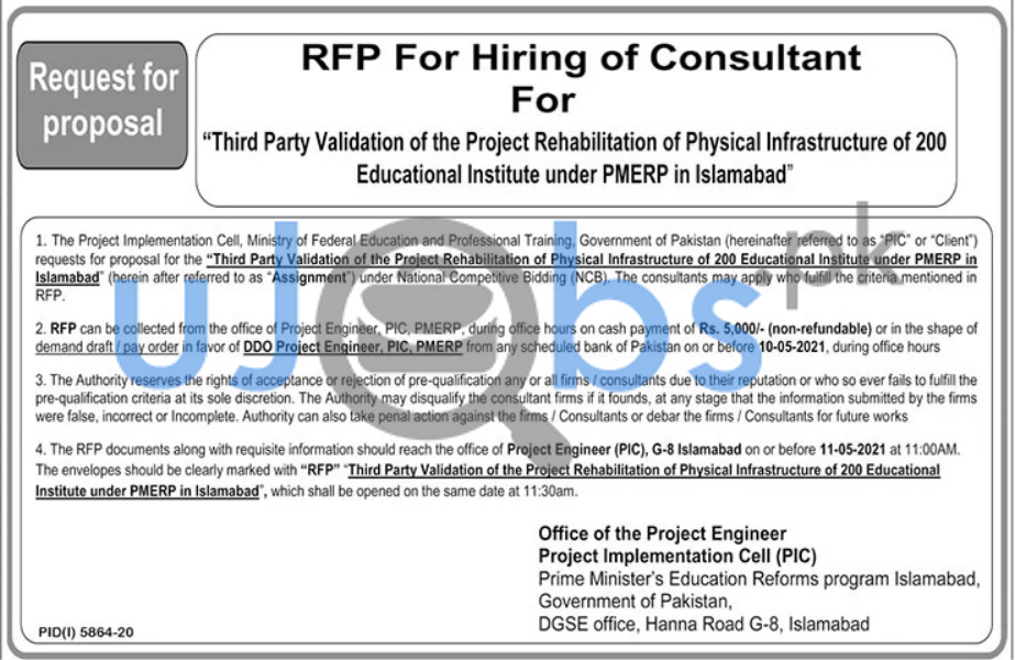 RFP Hiring Consultant Jobs in Islamabad 2021