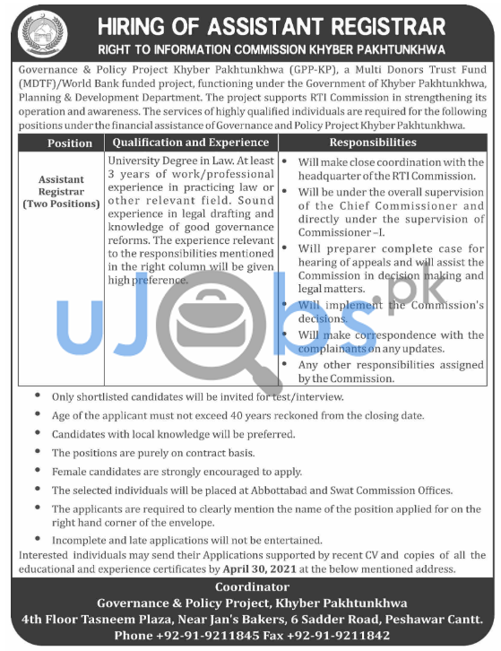 Rights of Information RTI Commission Khyber Pakhtunkhwa Jobs 2021 For Assistant Registrar