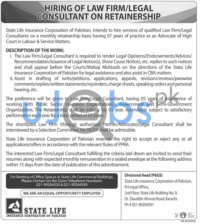 State Life Insurance Corporation of Pakistan Jobs in Karachi For Legal Consultant