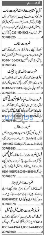 Today Express Newspaper Classified Jobs April 2021