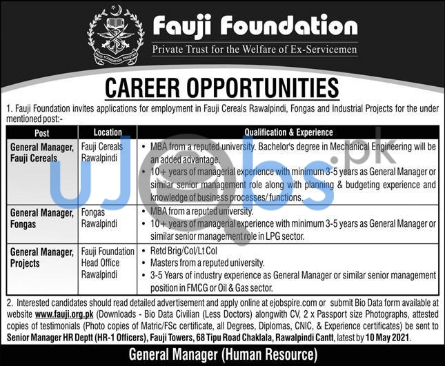 Fauji Foundation Jobs in Rawalpindi Cantt 2021 For Manager