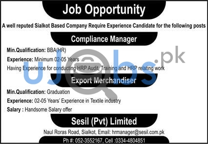 Sialkot Based Company Jobs 2021 For Manager