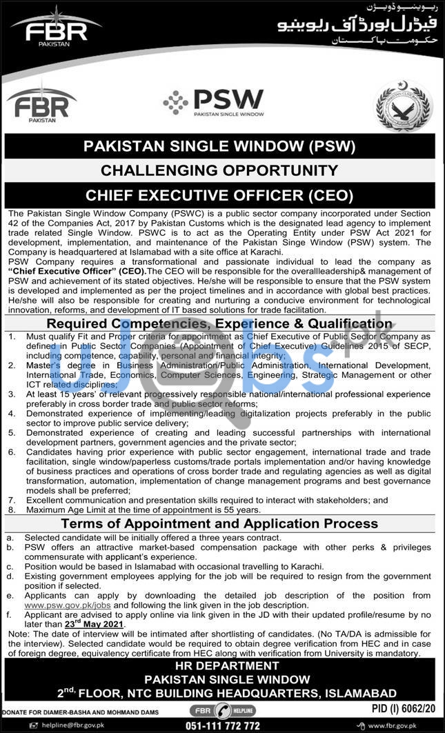 Chief Executive Officer CEO Jobs In Pakistan Single Window PSW Islamabad 2021