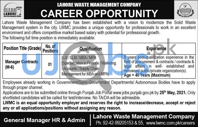 Manager Contracts Jobs in Lahore Waste Management Company LWMC 2021