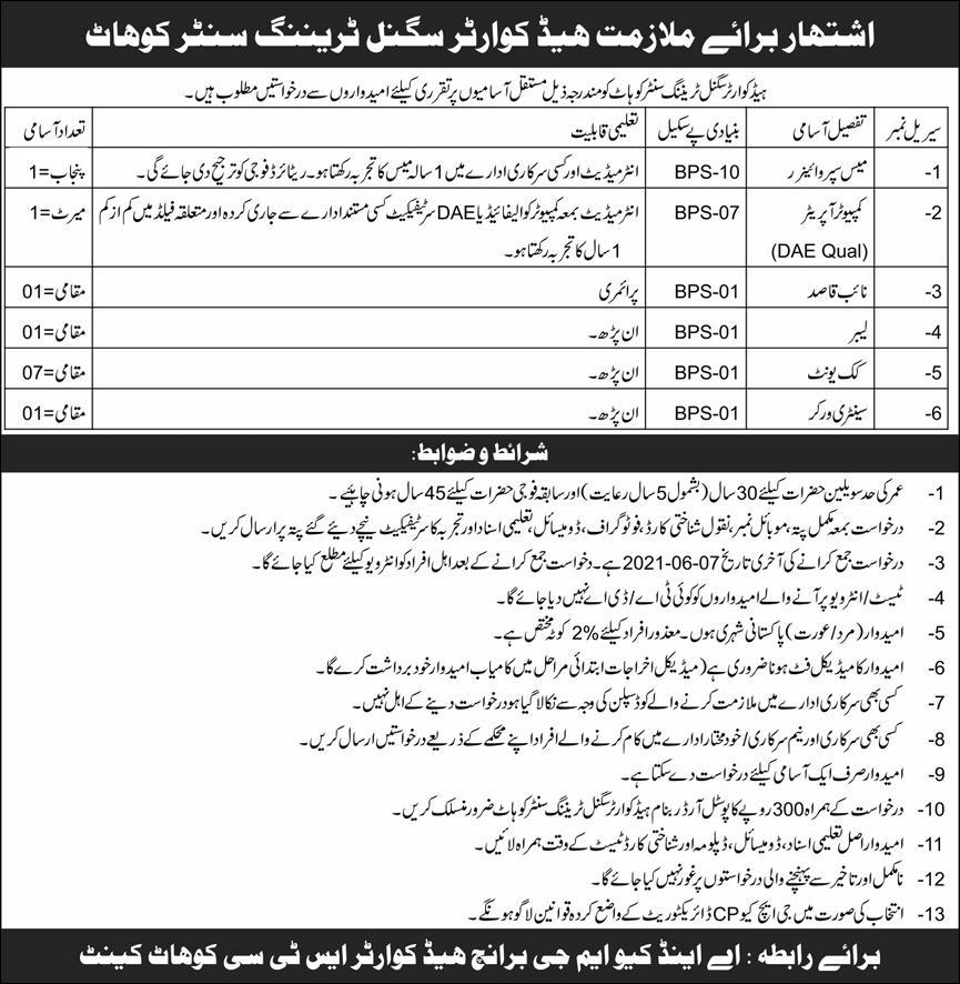 Jobs in Pakistan Army Headquarter Signal Training Center STC Kohat Cantt 2021