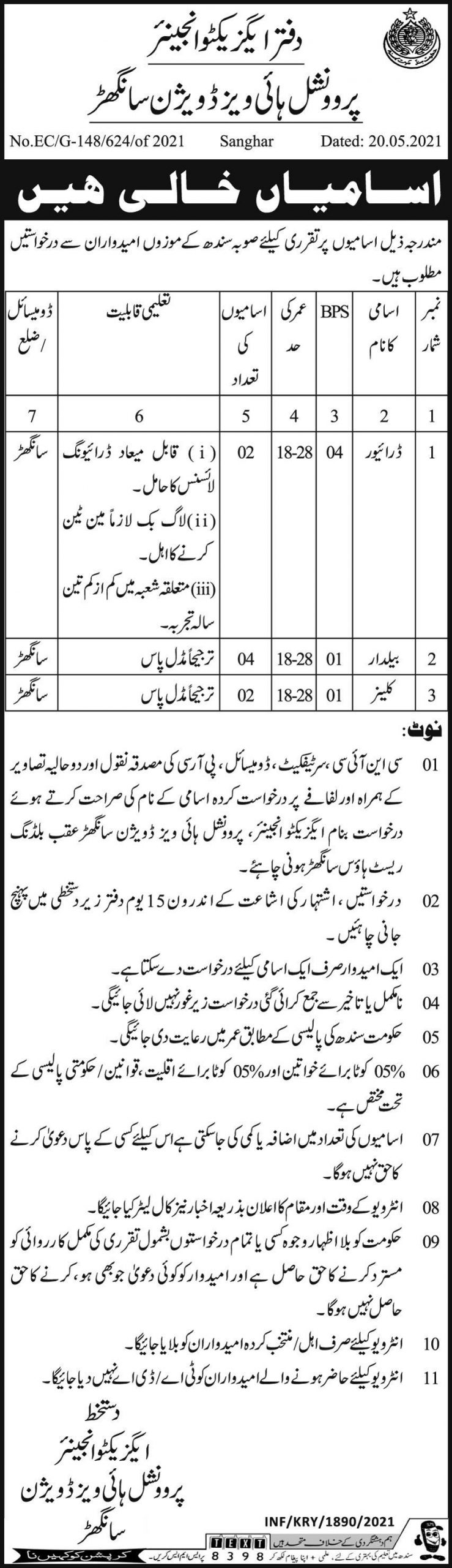 Provincial Buildings Division Sanghar Government Jobs 2021