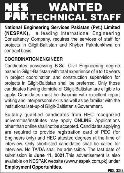 NESPAK Jobs in Islamabad 2021 For Technical Staff
