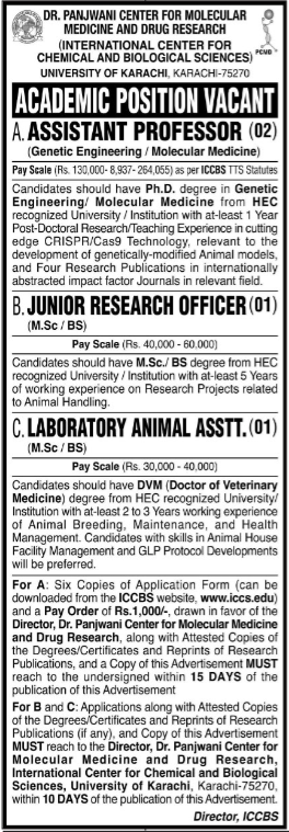 University of Karachi Latest Jobs 2021 at International Center For Chemical and Biological Sciences ICCBS