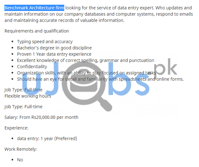 Latest Data Entry Operator Part Time Jobs in Lahore 2021 Advertisement No 2