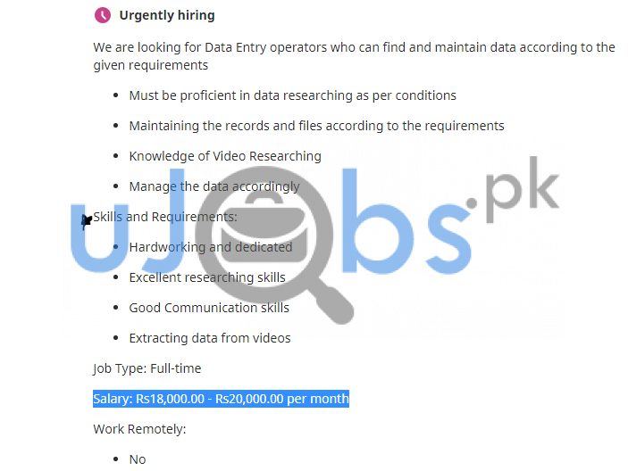 Latest Data Entry Operator Part Time Jobs in Lahore 2021 Advertisement No 3