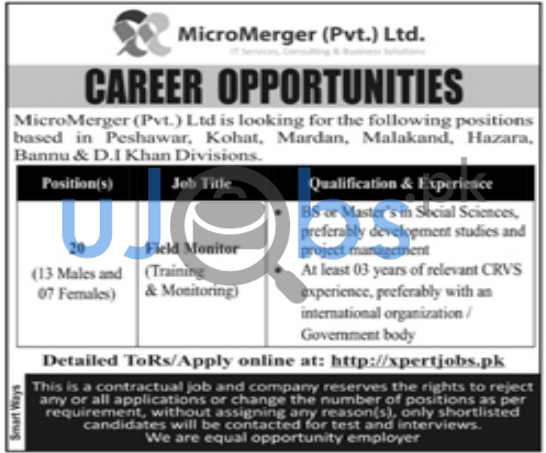 Field Monitor Jobs in Peshawar May 2021 For Males and Females